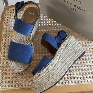 Marc Fisher Renni Espadrille Sandals in Blue Suede